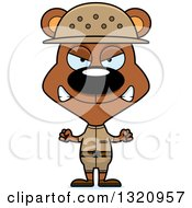 Clipart Of A Cartoon Angry Brown Bear Zookeeper Royalty Free Vector Illustration