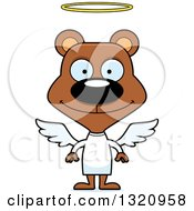 Clipart Of A Cartoon Happy Brown Bear Angel Royalty Free Vector Illustration