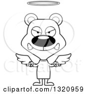 Lineart Clipart Of A Cartoon Black And White Angry Angel Bear Royalty Free Outline Vector Illustration