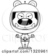 Lineart Clipart Of A Cartoon Black And White Angry Bear Astronaut Royalty Free Outline Vector Illustration
