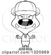 Lineart Clipart Of A Cartoon Black And White Angry Bear Coach Royalty Free Outline Vector Illustration