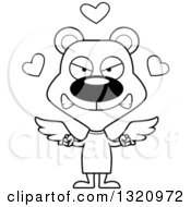 Lineart Clipart Of A Cartoon Black And White Angry Bear Cupid Royalty Free Outline Vector Illustration