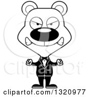 Lineart Clipart Of A Cartoon Black And White Angry Bear Wedding Groom Royalty Free Outline Vector Illustration