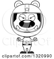 Lineart Clipart Of A Cartoon Black And White Angry Bear Race Car Driver Royalty Free Outline Vector Illustration