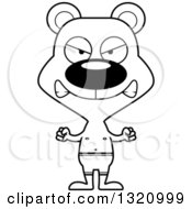 Lineart Clipart Of A Cartoon Black And White Angry Bear In Swim Trunks Royalty Free Outline Vector Illustration