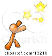 Orange Man Reaching For The Stars Clipart Illustration