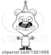 Lineart Clipart Of A Cartoon Black And White Angry Bear Wizard Royalty Free Outline Vector Illustration