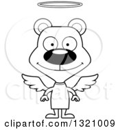 Lineart Clipart Of A Cartoon Black And White Happy Bear Angel Royalty Free Outline Vector Illustration