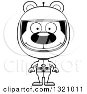 Lineart Clipart Of A Cartoon Black And White Happy Bear Astronaut Royalty Free Outline Vector Illustration