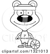 Lineart Clipart Of A Cartoon Black And White Happy Bear Basketball Player Royalty Free Outline Vector Illustration