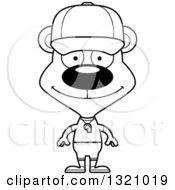 Lineart Clipart Of A Cartoon Black And White Happy Bear Sports Coach Royalty Free Outline Vector Illustration