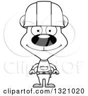 Cartoon Black And White Happy Bear Construction Worker
