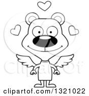 Lineart Clipart Of A Cartoon Black And White Happy Bear Cupid Royalty Free Outline Vector Illustration