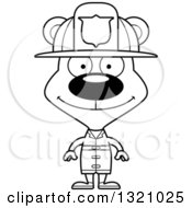 Lineart Clipart Of A Cartoon Black And White Happy Bear Fireman Royalty Free Outline Vector Illustration