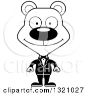 Lineart Clipart Of A Cartoon Black And White Happy Bear Wedding Groom Royalty Free Outline Vector Illustration