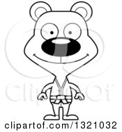 Lineart Clipart Of A Cartoon Black And White Happy Karate Bear Royalty Free Outline Vector Illustration