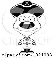 Lineart Clipart Of A Cartoon Black And White Happy Pirate Bear Royalty Free Outline Vector Illustration