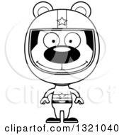 Lineart Clipart Of A Cartoon Black And White Happy Bear Racer Royalty Free Outline Vector Illustration