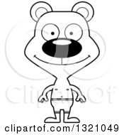 Lineart Clipart Of A Cartoon Black And White Happy Bear In Swim Shorts Royalty Free Outline Vector Illustration