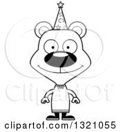 Lineart Clipart Of A Cartoon Black And White Happy Bear Wizard Royalty Free Outline Vector Illustration