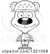 Lineart Clipart Of A Cartoon Black And White Happy Zookeeper Bear Royalty Free Outline Vector Illustration