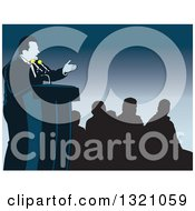 Clipart Of A Spokesman Or Politician Speaking At A Podium With Silhouetted People Over Blue Royalty Free Vector Illustration