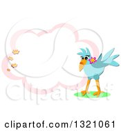 Bluebird With Flowers And Blank Cloud
