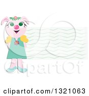 Clipart of a Happy Girl Pig by a Wave Label - Royalty Free Vector Illustration by bpearth #COLLC1321063-0062