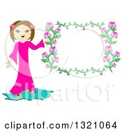 Happy Girl Holding A Pink Floral Frame