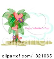 Heart Palm Tree With Happy Valentines Day Text On A Cloud