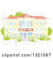 Clipart Of A Cartoon Yellow School Building Facade With Shrubs Royalty Free Vector Illustration by Alex Bannykh