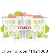 Clipart Of A Cartoon Yellow School Building Facade Royalty Free Vector Illustration