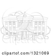 Lineart Clipart Of A Cartoon Black And White School Building Facade Royalty Free Outline Vector Illustration by Alex Bannykh