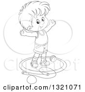 Lineart Clipart Of A Cartoon Black And White Boy Working Out With A Ball And Jump Rope Royalty Free Outline Vector Illustration by Alex Bannykh