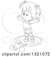 Lineart Clipart Of A Cartoon Black And White Girl Working Out With A Ball And Jump Rope Royalty Free Outline Vector Illustration by Alex Bannykh