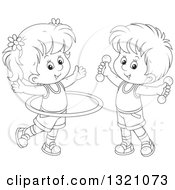 Lineart Clipart Of A Cartoon Black And White Boy And Girl Working Out With Dumbbell Weights And A Hula Hoop Royalty Free Outline Vector Illustration by Alex Bannykh