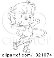 Lineart Clipart Of A Cartoon Black And White Girl Exercising With A Hula Hoop Royalty Free Outline Vector Illustration by Alex Bannykh