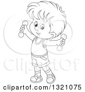 Lineart Clipart Of A Cartoon Black And White Boy Working Out With Dumbbells Royalty Free Outline Vector Illustration by Alex Bannykh