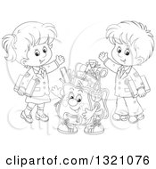 Cartoon Black And White Backpack Character And Waving School Children In Uniforms