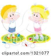 Clipart Of A Cartoon Caucasian Boy And Girl Working Out With Balls And Jump Ropes Royalty Free Vector Illustration by Alex Bannykh
