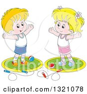 Clipart Of A Cartoon White Boy And Girl Working Out With Balls And Jump Ropes Royalty Free Vector Illustration by Alex Bannykh