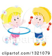 Clipart Of A Cartoon Caucasian Boy And Girl Working Out With Dumbbell Weights And A Hula Hoop Royalty Free Vector Illustration by Alex Bannykh