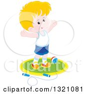 Clipart Of A Cartoon Caucasian Boy Working Out With A Ball And Jump Rope Royalty Free Vector Illustration by Alex Bannykh
