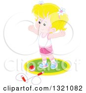 Clipart Of A Cartoon Caucasian Girl Working Out With A Ball And Jump Rope Royalty Free Vector Illustration by Alex Bannykh