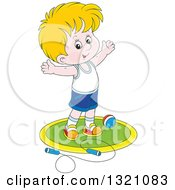 Cartoon White Boy Working Out With A Ball And Jump Rope