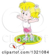 Cartoon White Girl Working Out With A Ball And Jump Rope
