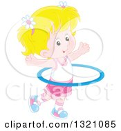 Clipart Of A Cartoon Blond Caucasian Girl Exercising With A Hula Hoop Royalty Free Vector Illustration by Alex Bannykh