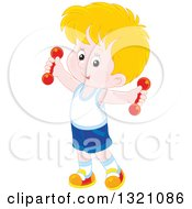Clipart Of A Cartoon Caucasian Boy Working Out With Dumbbells Royalty Free Vector Illustration by Alex Bannykh