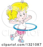Clipart Of A Cartoon Blond White Girl Exercising With A Hula Hoop Royalty Free Vector Illustration