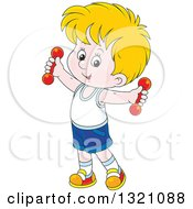 Clipart Of A Cartoon White Boy Working Out With Dumbbells Royalty Free Vector Illustration by Alex Bannykh